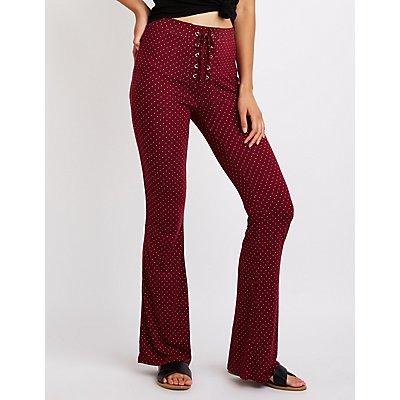Polka Dot Lace Up Flare Pants