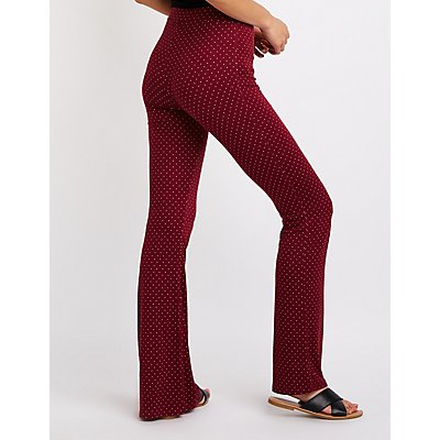 Polka Dot Lace Up Flare Pants