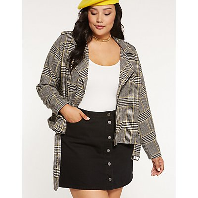 Plus Size Refuge Button Up Denim Skirt