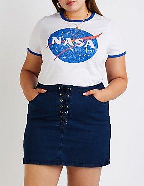 Plus Size Refuge Lace Up Denim Skirt