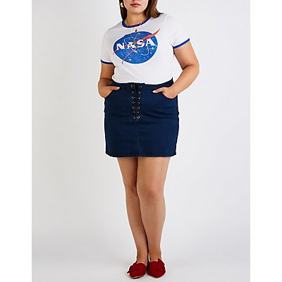 Plus Size Refuge Lace Up Denim Skirt