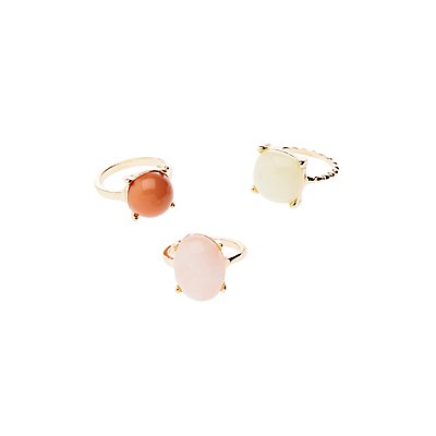 Stone Stackable Cocktail Rings - 3 Pack