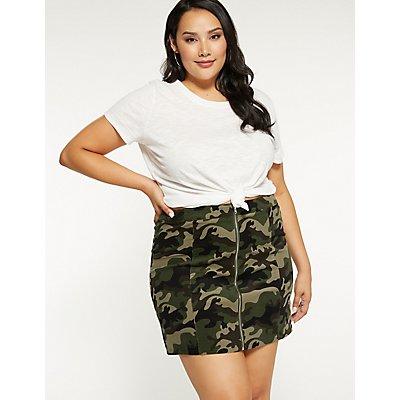 Plus Size Zip Up Camo Skirt