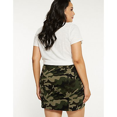 Plus Size Zip Up Camo Skirt