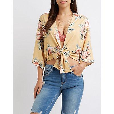 Floral Kimono Sleeve Tie-Front Crop Top