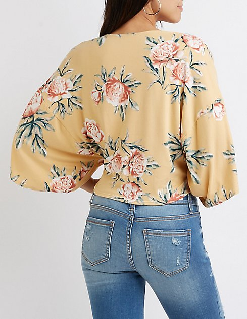 40e5604a15c7f floral-kimono-sleeve-tie-front-crop-top by charlotte-