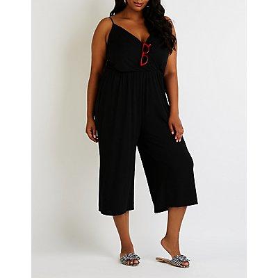 Plus Size Wrap Culotte Jumpsuit