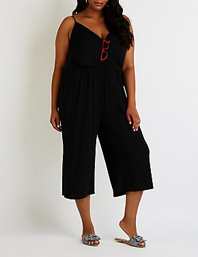 Plus Size Wrap Culotte Jumpsuit