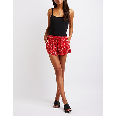 Printed Tie Front Shorts