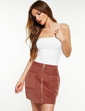 Corduroy Zip Up A Line Skirt