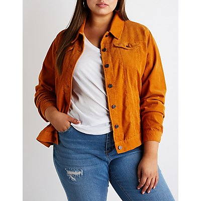 Plus Size Corduroy Button-Up Jacket