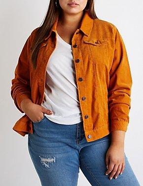 Plus Size Corduroy Button-Up Jacket