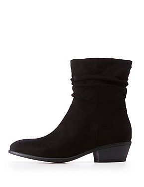 Ruched Faux Suede Ankle Booties