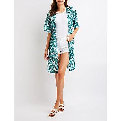 Tropical Print Mesh Kimono