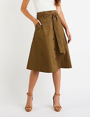 Button Up Paperbag Midi Skirt