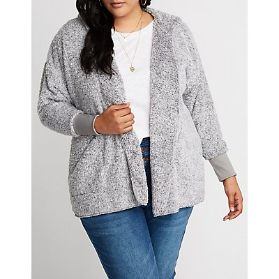 Plus Size Sherpa Hooded Cardigan