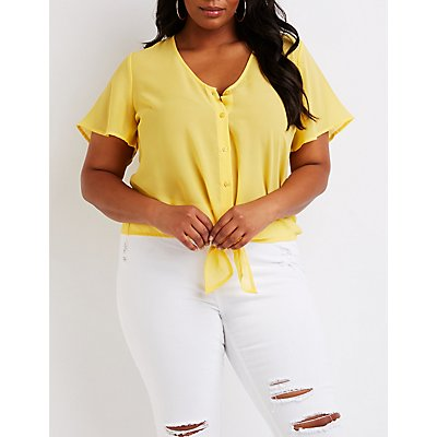 Plus Size Button Up Tie Front Top