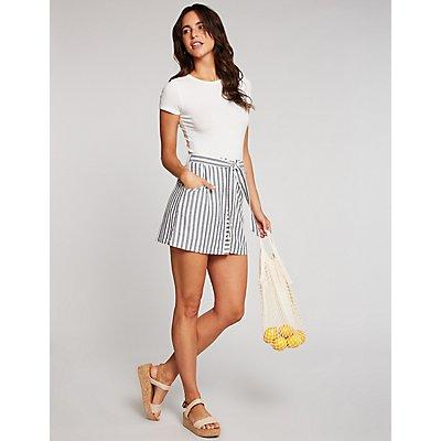 Stripe Button Up Skirt
