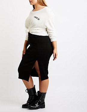 Plus Size Single Slit Pencil Skirt