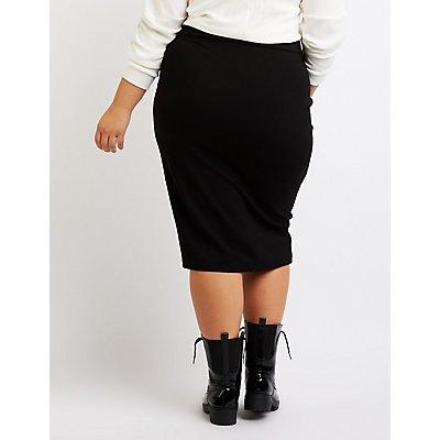 Plus Size Single Slit Pencil Skirt
