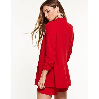 Ruched Sleeve Longline Blazer