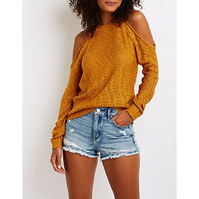 Cold Shoulder Tunic Sweater