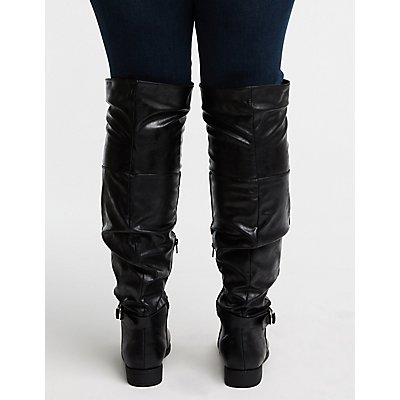 Wide Faux Leather Slouchy Boots