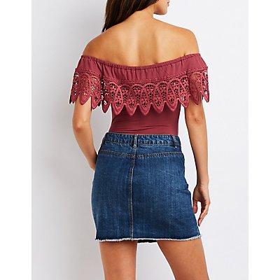 Crochet Off The Shoulder Bodysuit