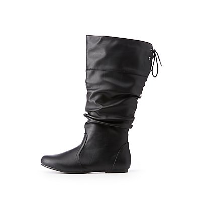 Wide Slouchy Tie Back Boots