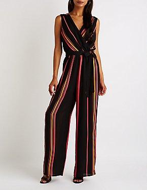 Striped Surplice Wide Leg Jumpsuit