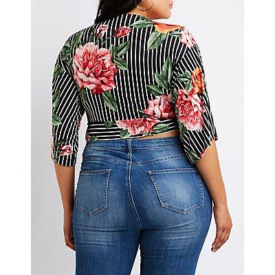 Plus Size Floral Stripe Crop Top