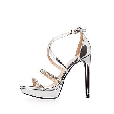 Metallic Strappy Platform Stiletto Sandals