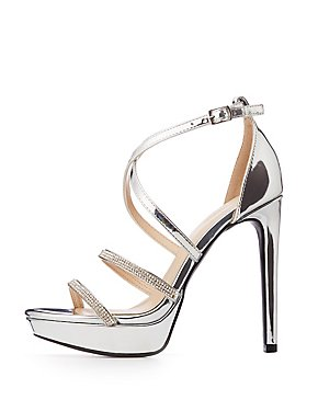 Metallic Strappy Platform Stiletto Sandals