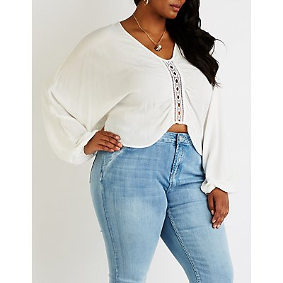 Plus Size Crochet Inset Top