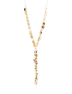 Leaf Charm Lariat Necklace