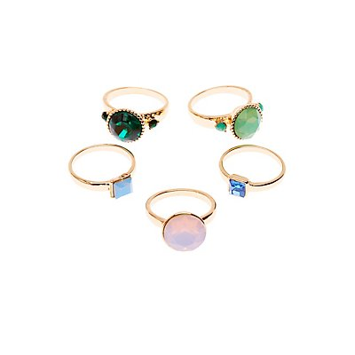 Rhinestone Rings - 5 Pack