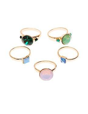 Rhinestone Rings - 5 Pack