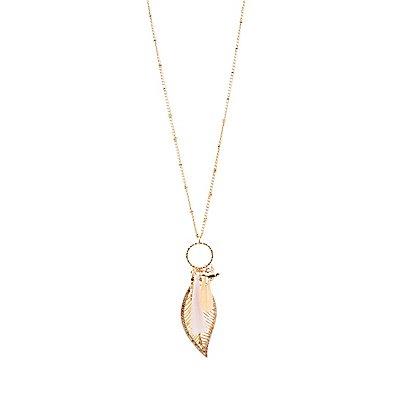 Tassel & Leaf Pendant Necklace