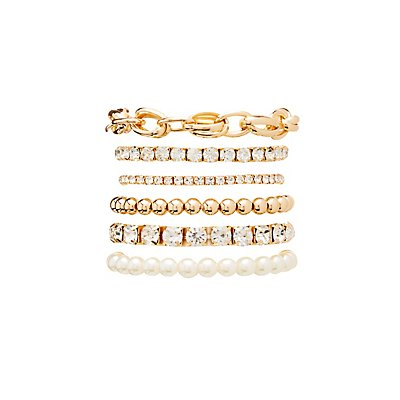 Faux Pearl, Crystal & Link Bracelets
