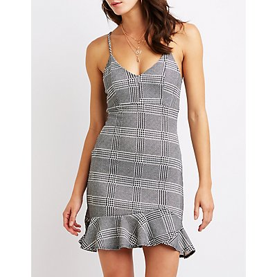 Plaid Ruffle Bodycon Dress