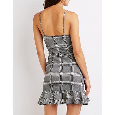 Plaid Ruffle Bodycon Dress