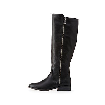 Zipper Riding Boots