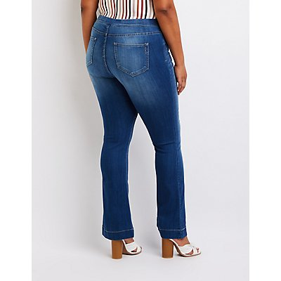 Plus Size Cello Flare Pull On Jeans