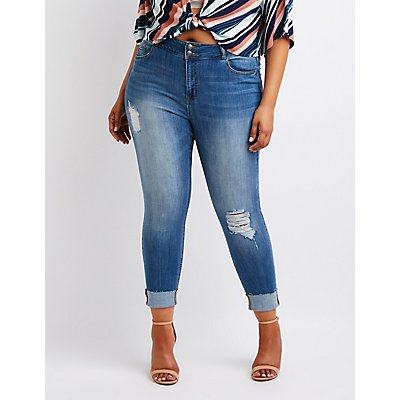 Plus Size Cello Destroyed Crop Skinny Jeans