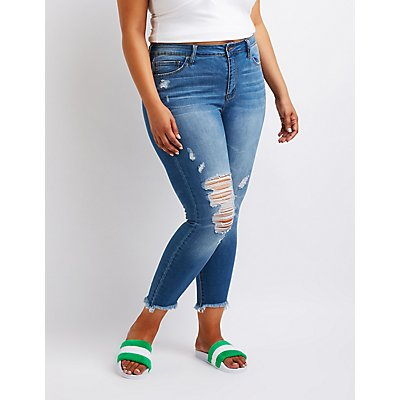 Plus Size Cello Destroyed Mid Rise Skinny Jeans by Charlotte Russe