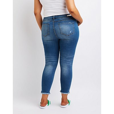 Plus Size Cello Destroyed Mid-Rise Skinny Jeans