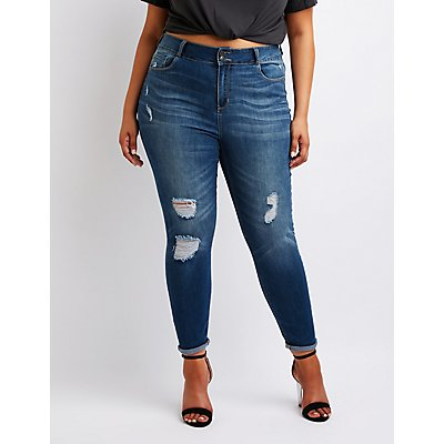 Plus Size Cello Destroyed Skinny Jeans