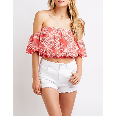 Tropical Off The Shoulder Crop Top