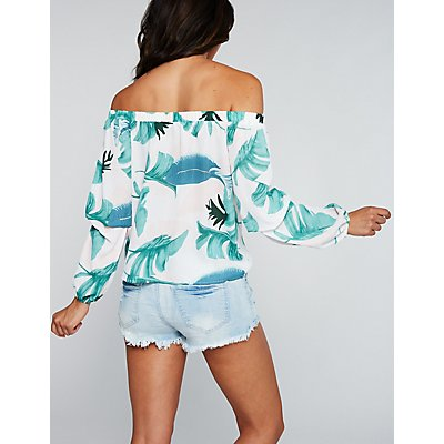 Leaf Print Off The Shoulder Top