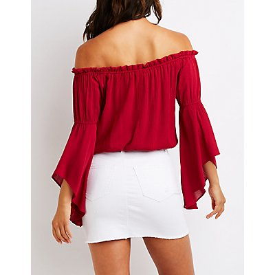 Drawstring Off The Shoulder Top